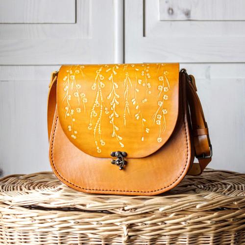 Kožená retro kabelka *floral liana*