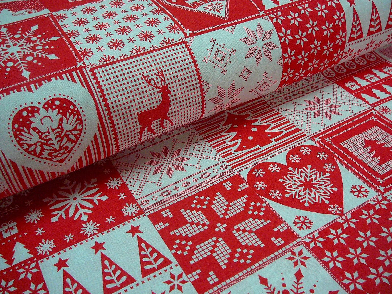 f3214c586 metráž - vánoční patchwork - červený - šíře 160cm / Zboží prodejce ...