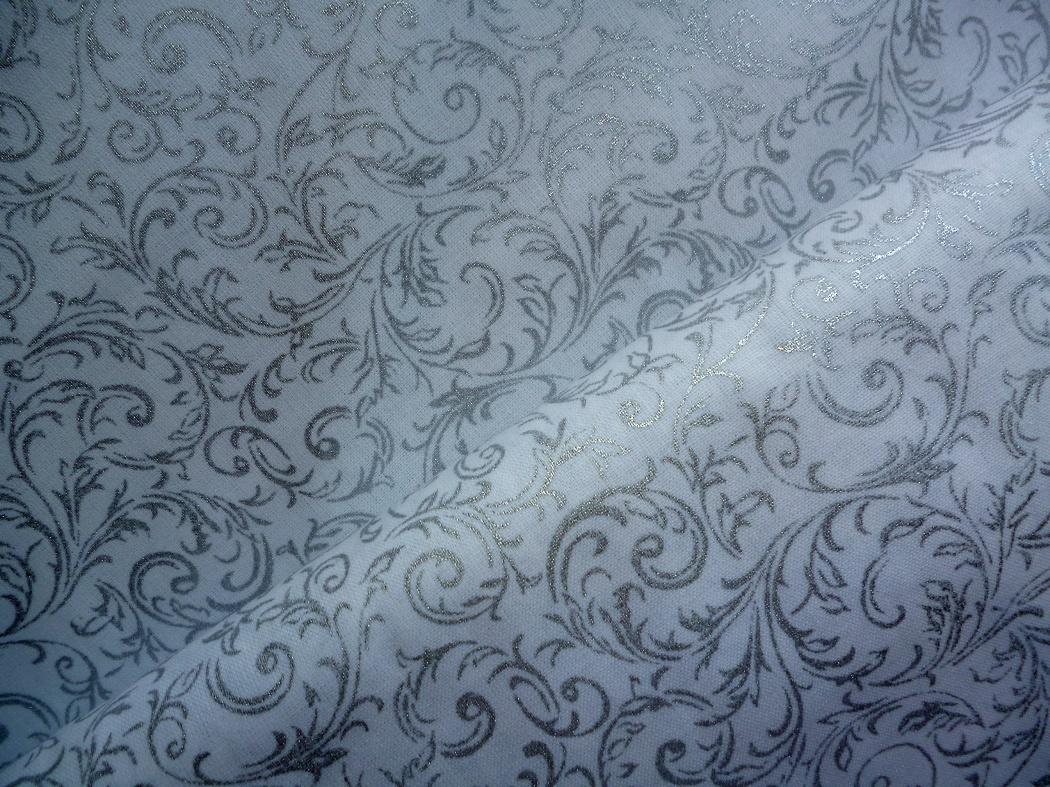 c968f9a4d11b Stříbrné větvičky-bílá látka-metráž   Zboží prodejce JehLenka
