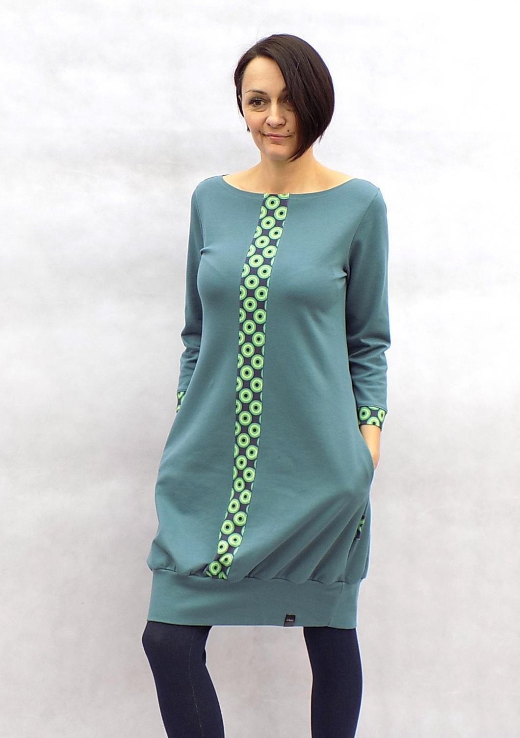 Modro-šedé šaty s pruhem...vel.XL   Zboží prodejce LaPanika  b5a540870e7