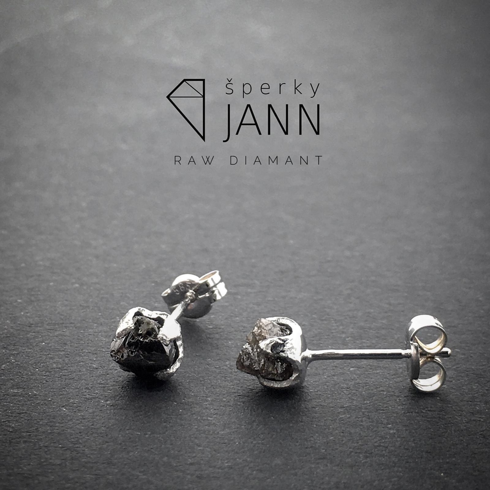 4c636b84f Náušnice s RAW Diamanty z bílého zlata / Zboží prodejce ŠperkyJann ...