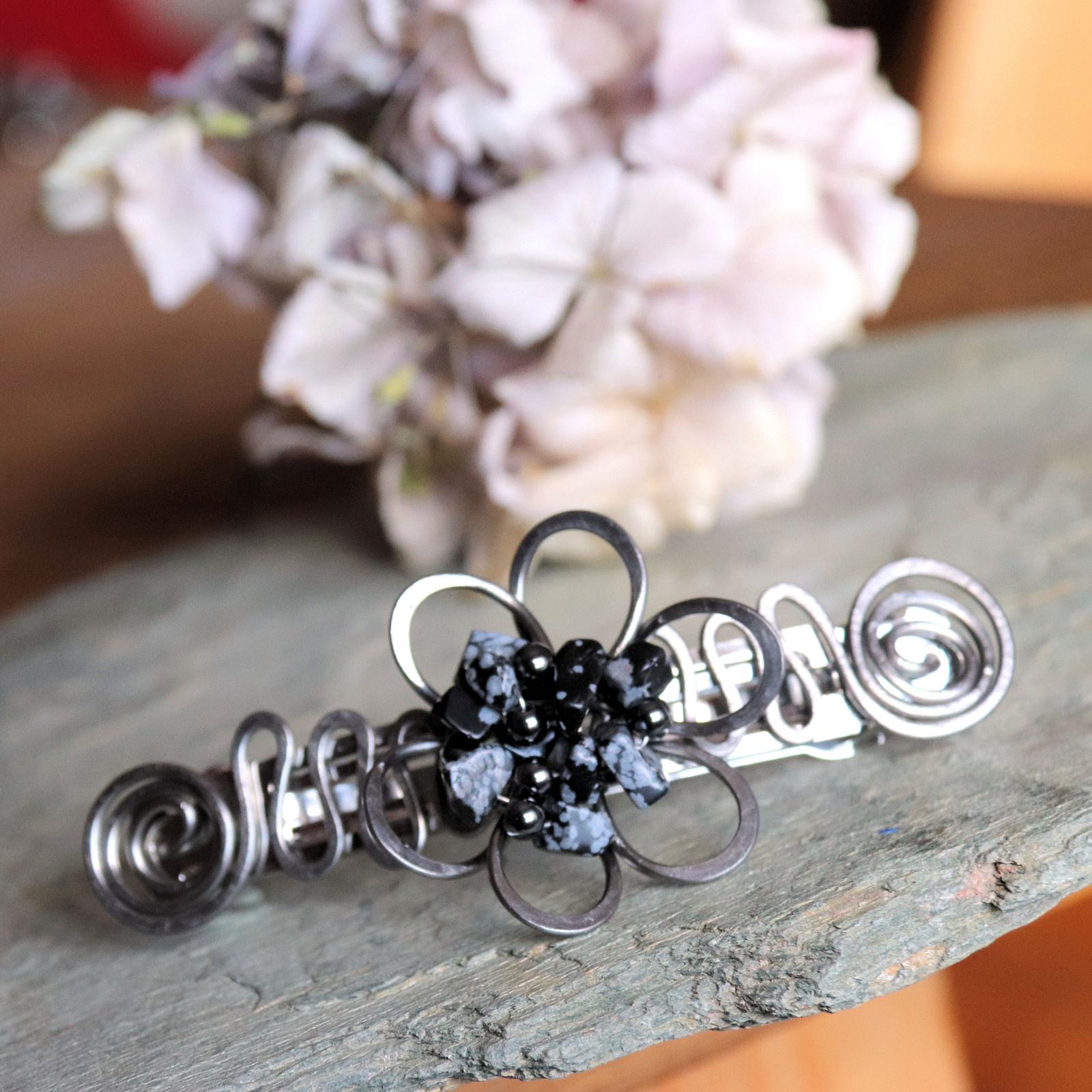 Čarokvět s obsidiánem - spona do vlasů 8 cm   Zboží prodejce Hani ... ce33c244f9