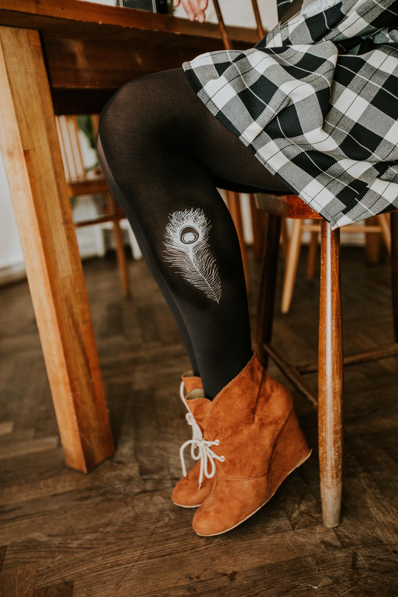 7b86f533abc Designové punčocháče s pavím pírkem-černé a stříbr (S)   Zboží prodejce  muhehe