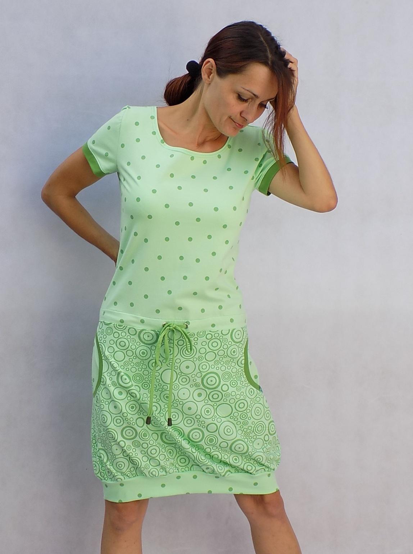 Zelinkavé kombinované šaty...vel. L   Zboží prodejce LaPanika  88366d3974a