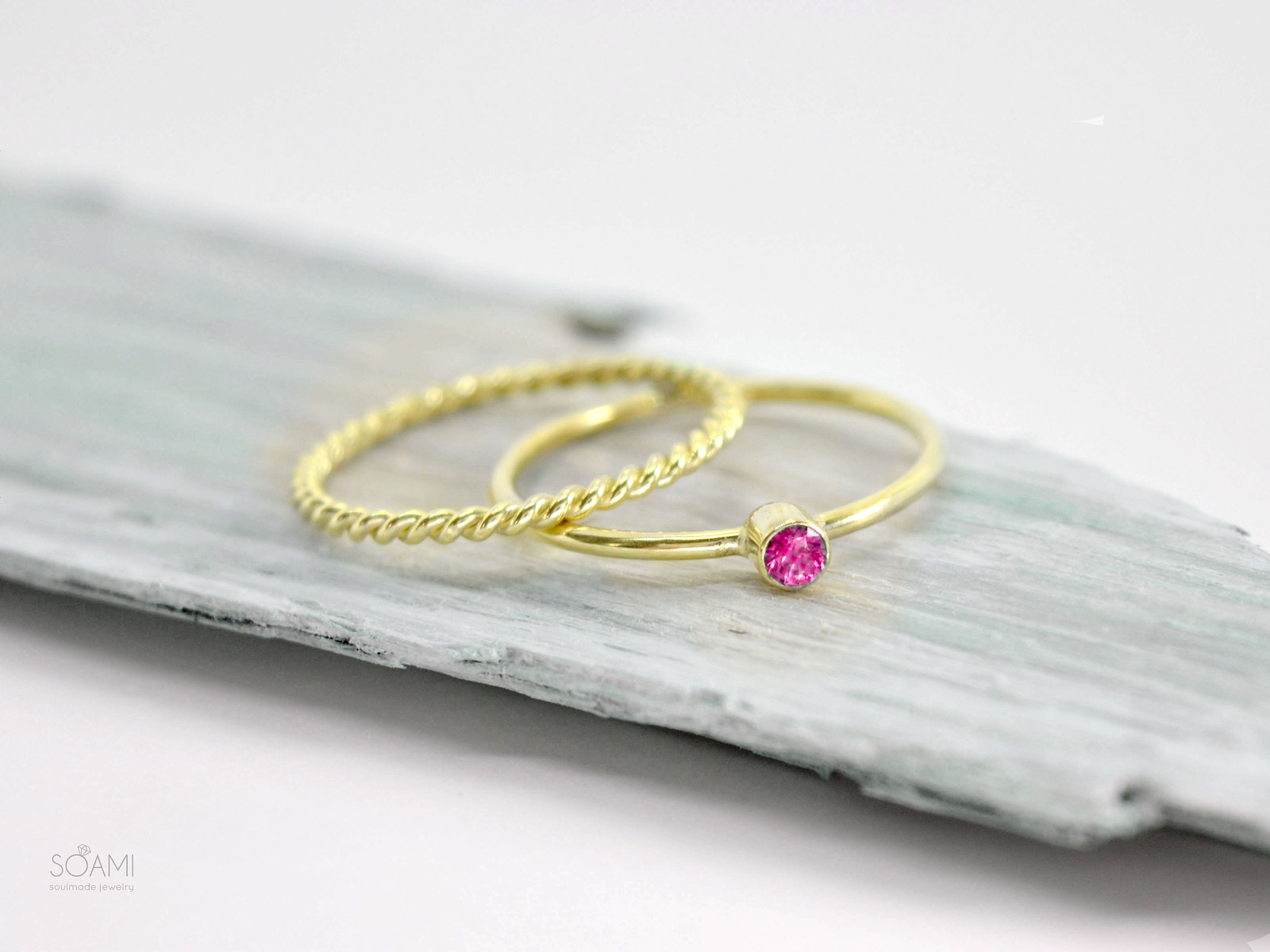 14kt zlatá sada prstenů s přírodním rubínem (žluté zlato)   Zboží prodejce  soamijewelry  8ad274bc4ed