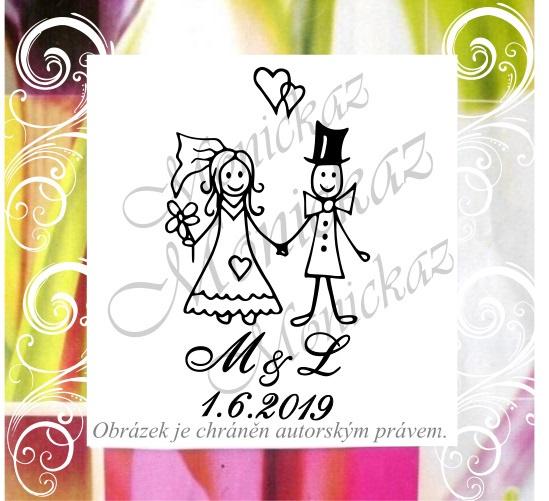 Svatební č. 37 iniciály. Omyvatelné razítko.   Zboží prodejce ... 3ebb22f3c99