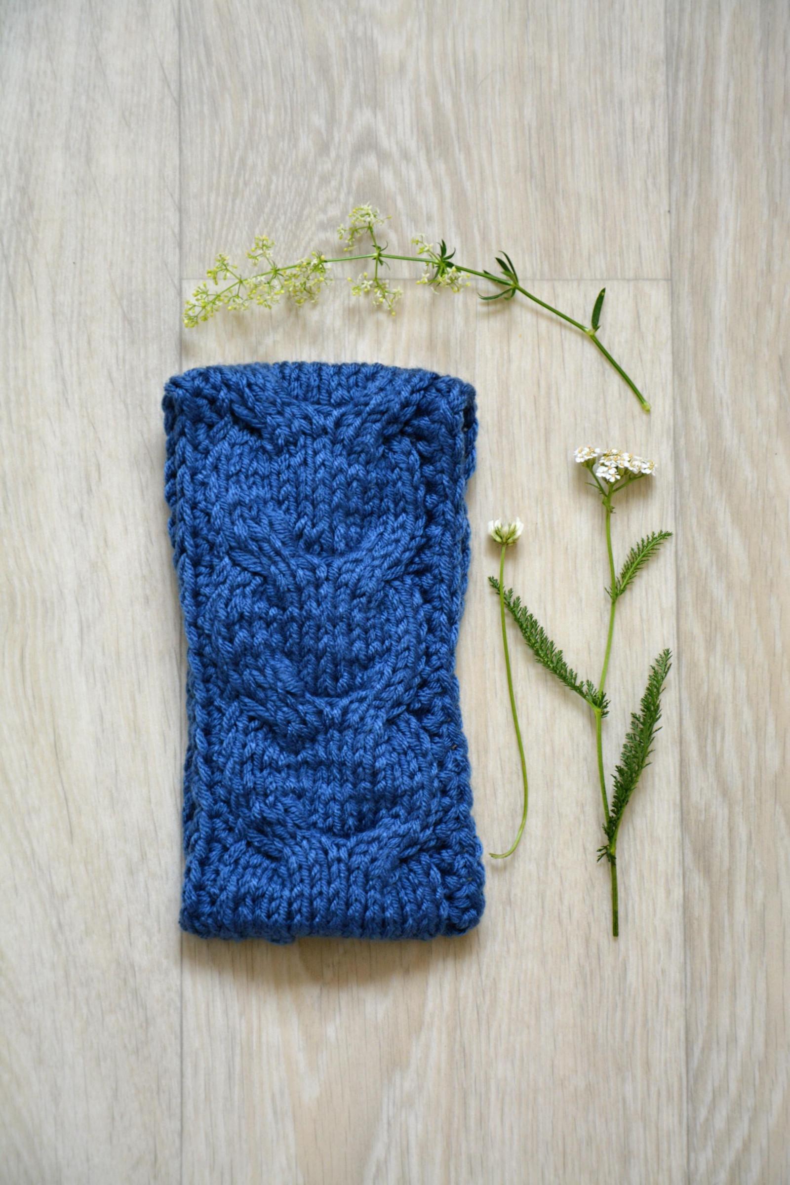 Pletená čelenka s copy- modrá   Zboží prodejce Švambi74  a94b8387a7