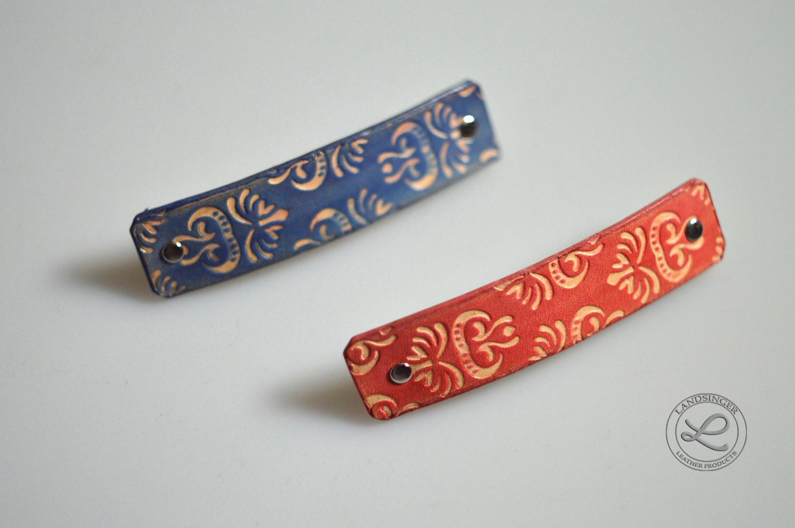 20fd6aca409 Kožená spona do vlasů - retro (menší spona 7x2 cm)   Zboží prodejce Kožené  výrobky Landsinger