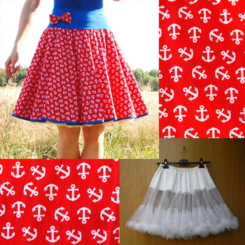 6d420676e8f Červená sukně s kotvami+objemnější bílá spodnička   Zboží prodejce ...