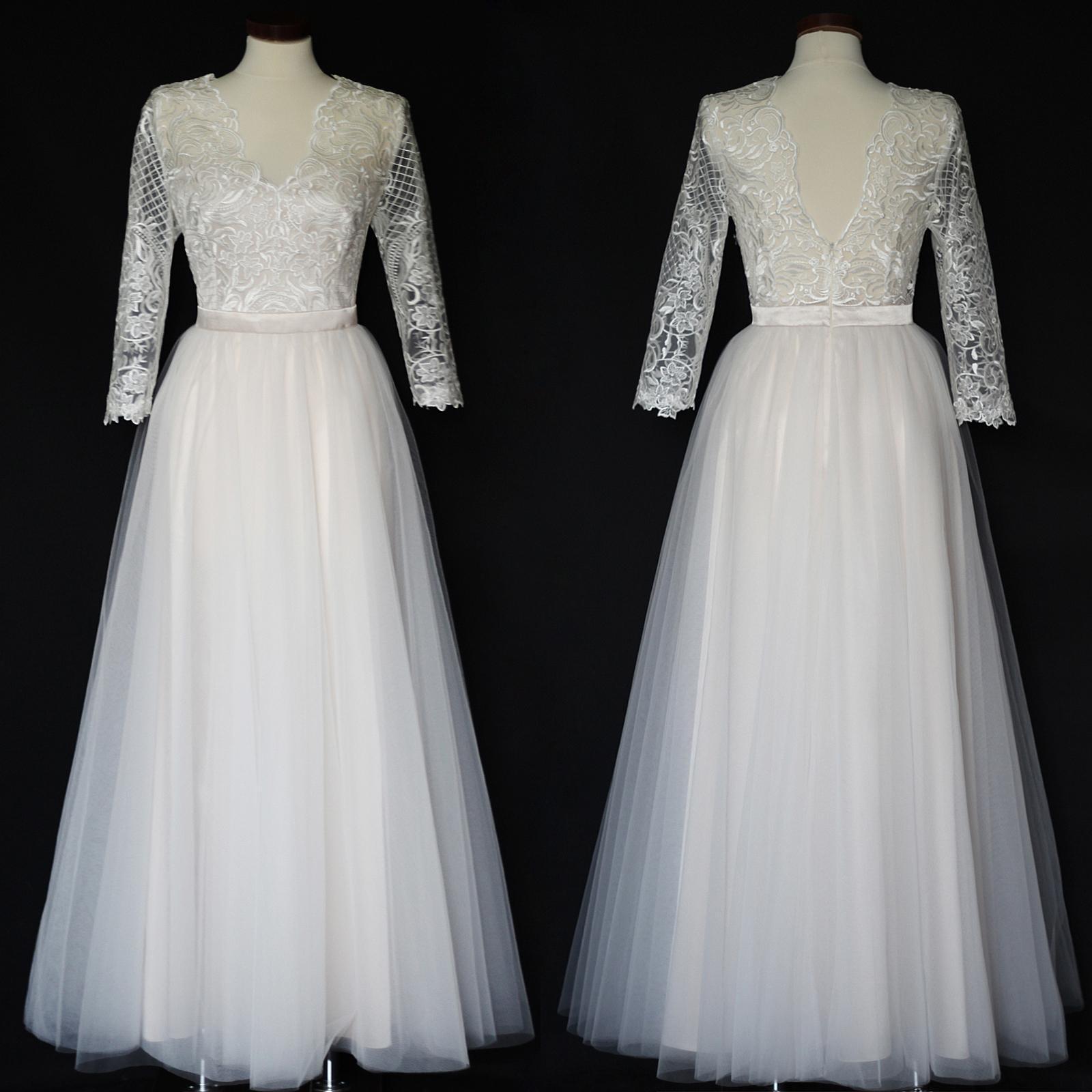 70bc8b8948cf Světlé krémové svatební šaty s tylovou sukní   Zboží prodejce Dyona ...