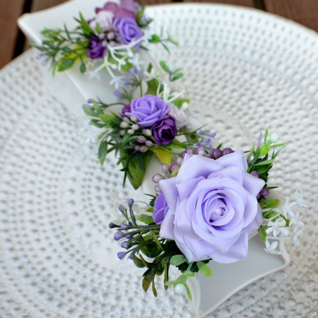 Sada 3 květinových spon do vlasů fialová   Zboží prodejce kultdesign ... 1066f0bf52