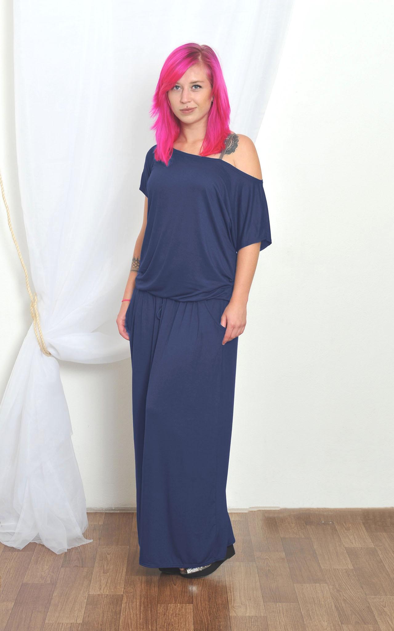 ff8acde6e497 Athena casual- dlouhé pohodlné šaty - modré   Zboží prodejce INDIVA ...