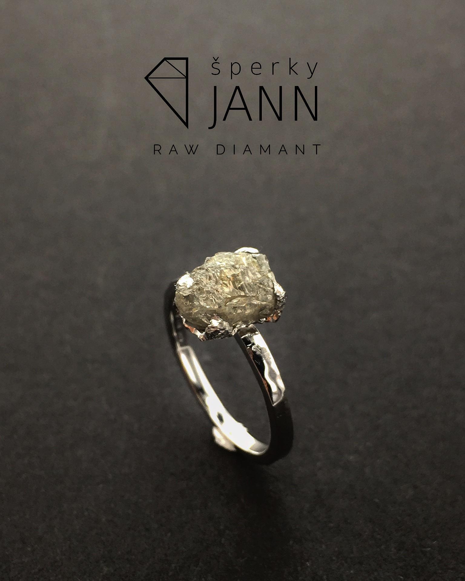 d77110d5c Prsten s Raw Diamantem v bílém zlatě / Zboží prodejce ŠperkyJann ...