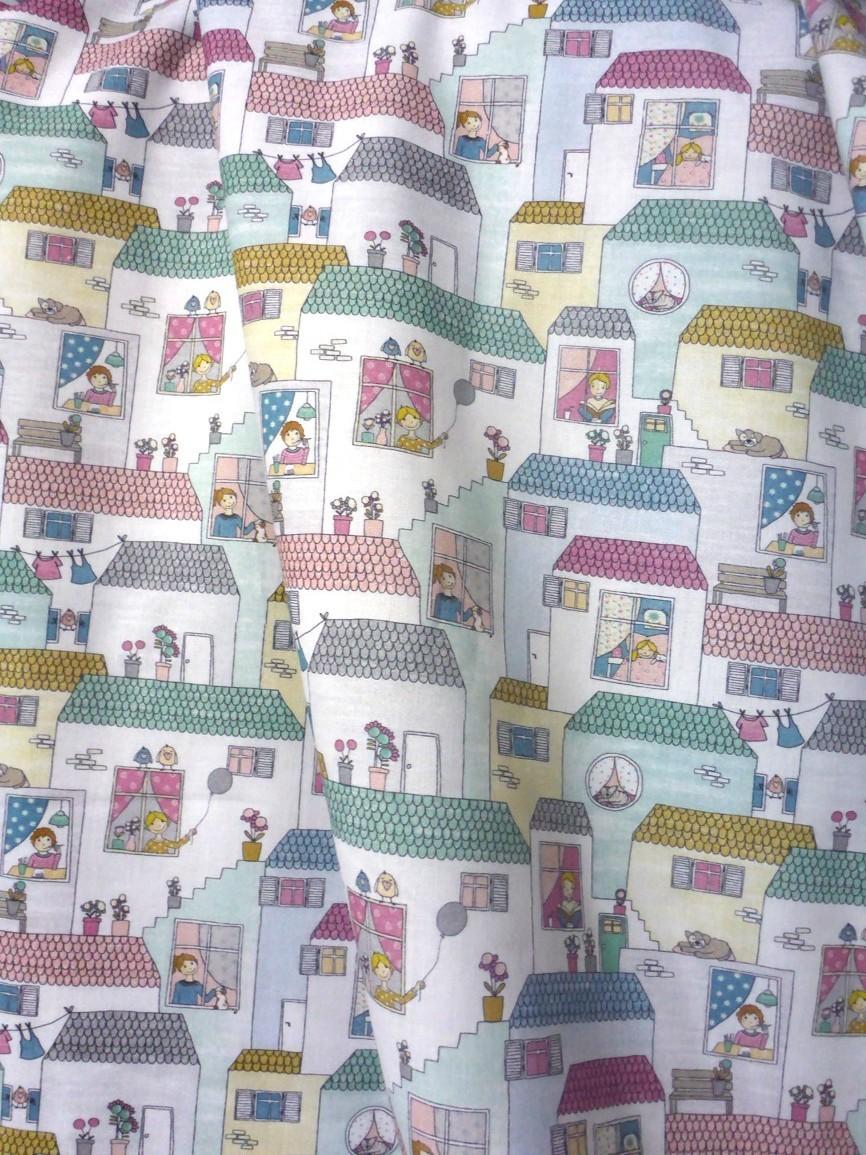 7b155abd2390 Pastelové domečky dětská bavlna   Zboží prodejce Látkaniny