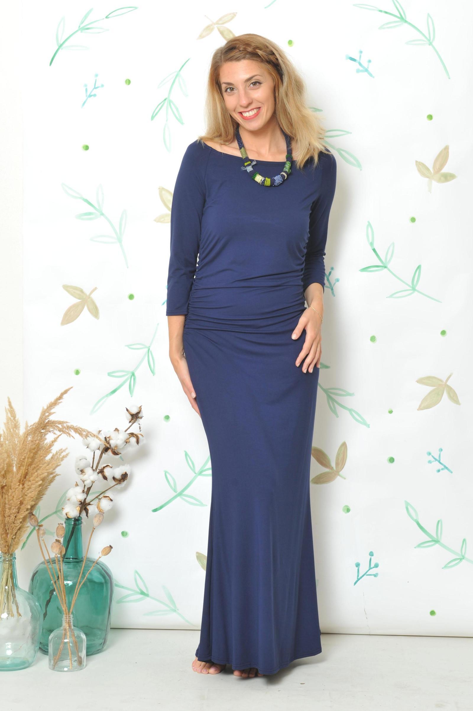 Dlouhé šaty s řasením - Alex modré 17362a260b