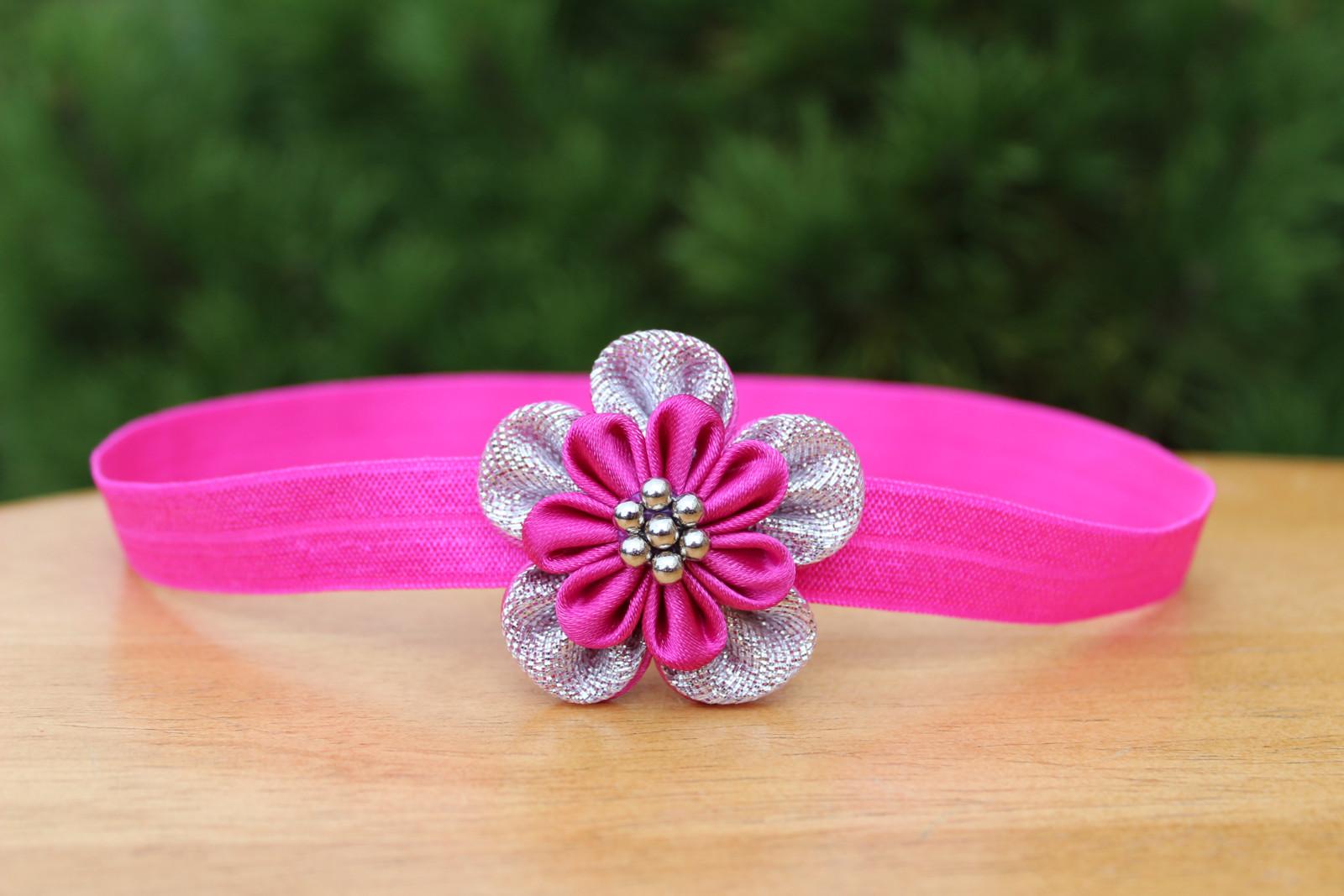 Čelenka - pruženka do vlasů růžovo-stříbrný květ   Zboží prodejce ... 35c56de585