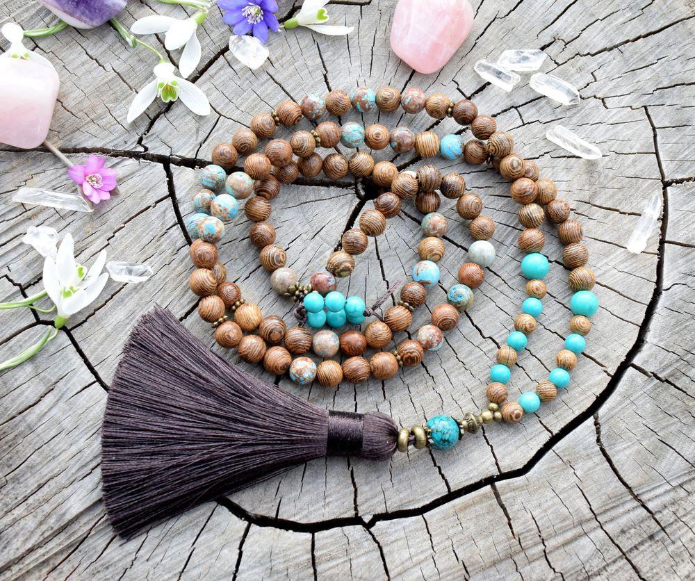 5c5fc59b4 ~PŘÍRODA~ Modlitební korále mála z tyrkysu a dřeva / Zboží prodejce ...