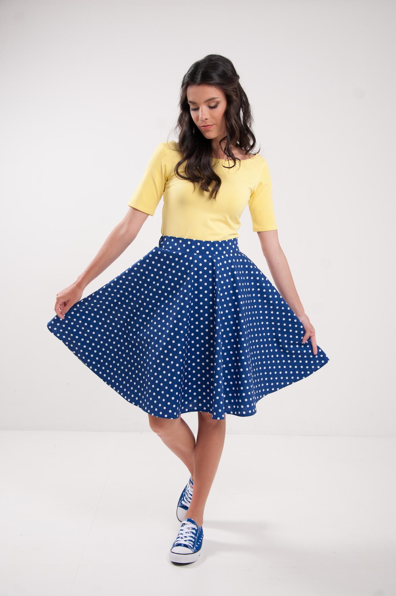 746d5b58812e Kolová Retro sukně puntíkatá modrá   Zboží prodejce Chic Lovely ...