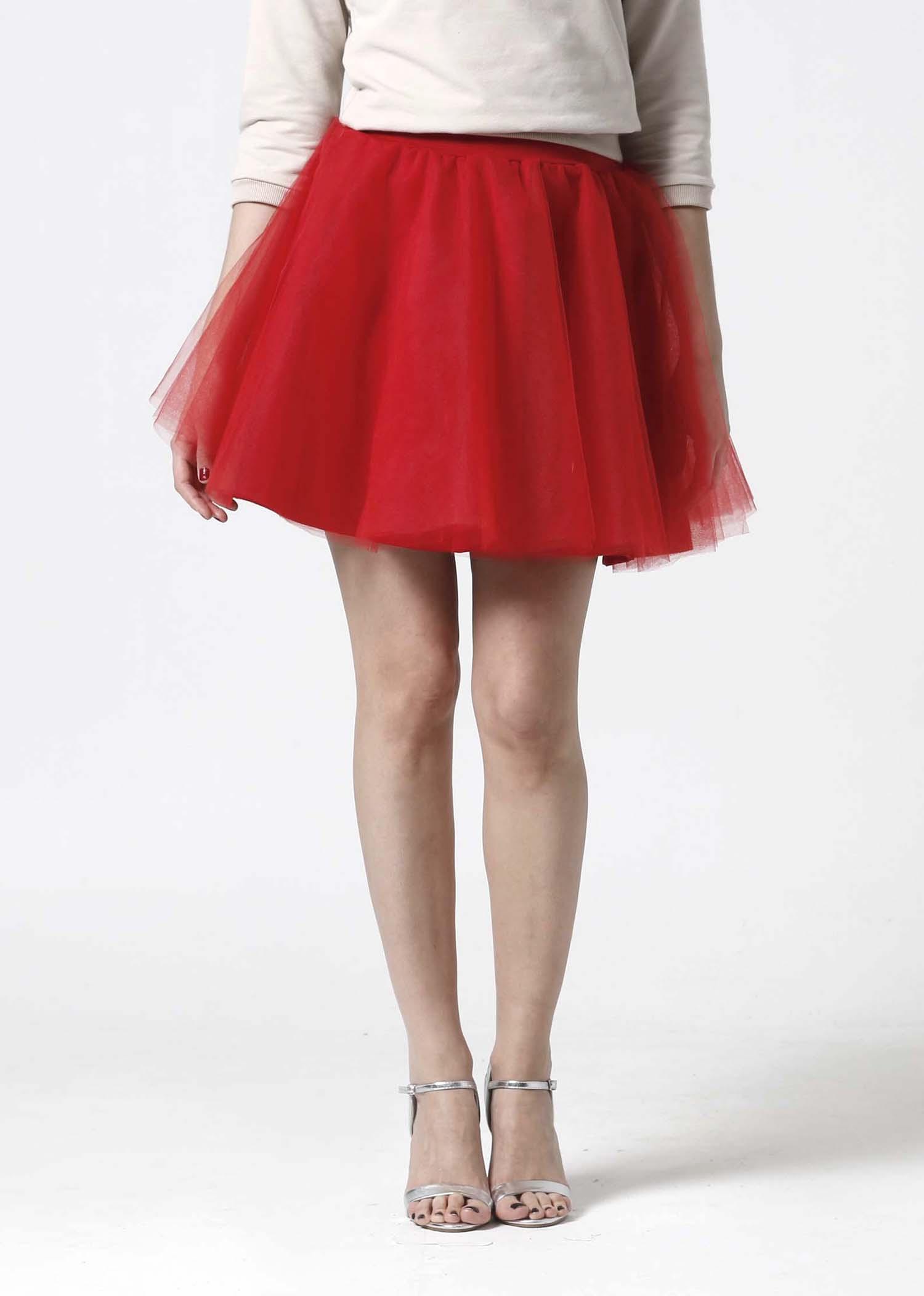 eaf73a353f0a Tylová sukňa Mini červená   Zboží prodejce ZuzanaZachar