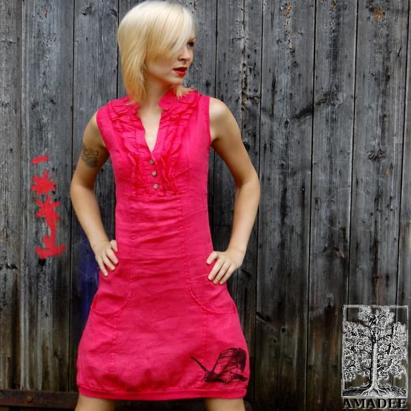 da9e0bedbf2 Lněné šaty Šnek malinová   Zboží prodejce Amadee