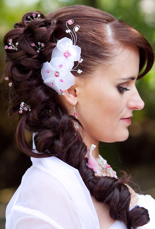 Bílo růžová ozdoba do vlasů   Zboží prodejce PresentsRadka  d5e3a9d183