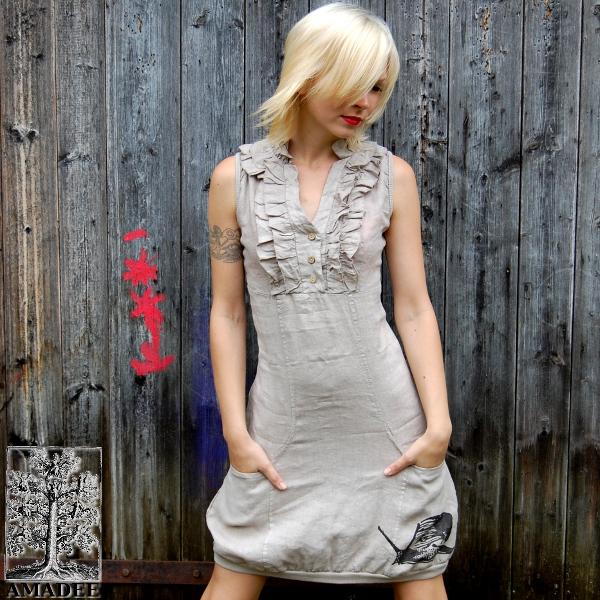 a2f6143bae8 Lněné šaty Šnek béžovošedá   Zboží prodejce Amadee