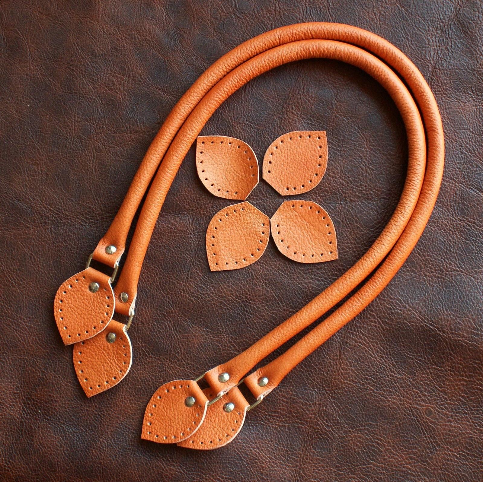 Kožená ucha na kabelku 40 - 42 cm - oranžová   Zboží prodejce Oleg.S ... 79ddc14fd9d