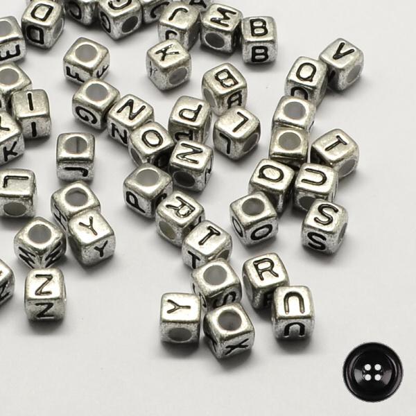 7e292b07bb6 Korálky Písmenka  6x6mm (50ks) - stříbrná