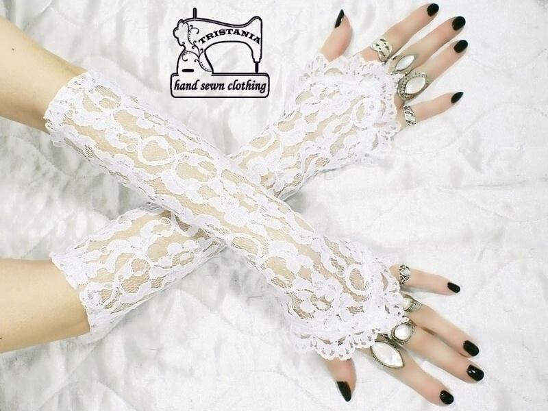 f05776cdce2 bílé krajkové rukavičky pro svatební šaty 0775   Zboží prodejce ...