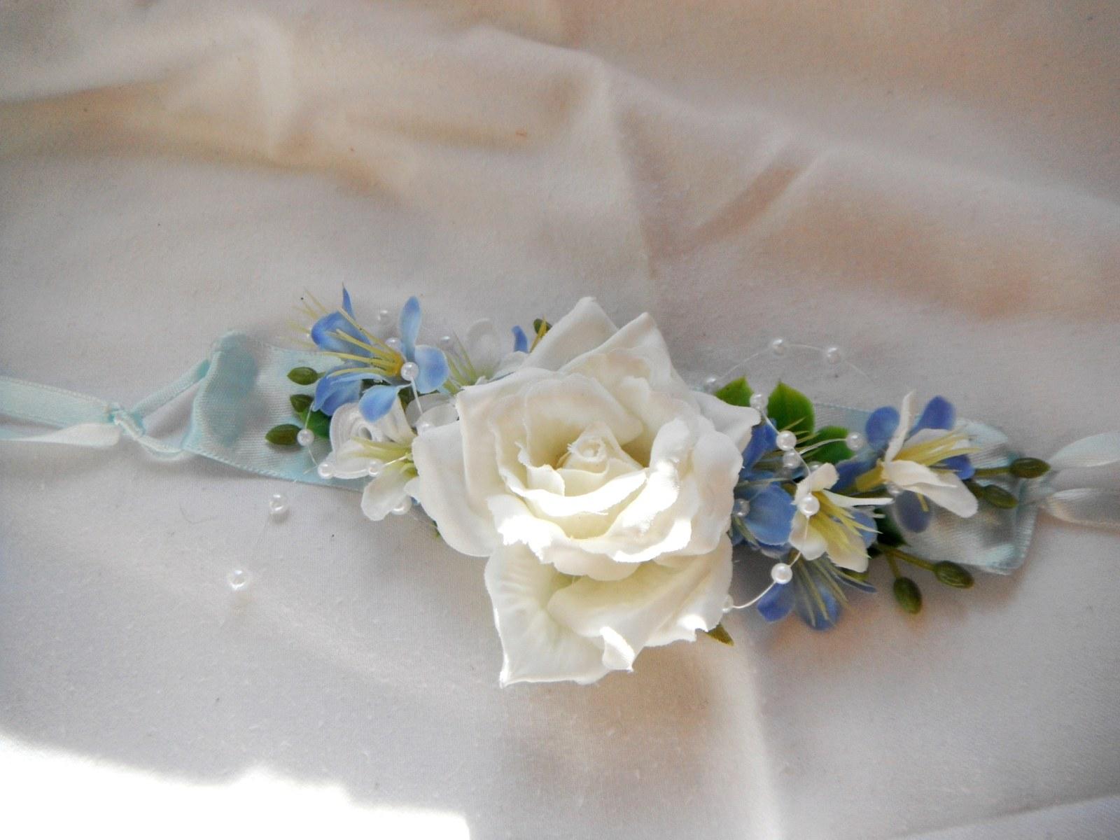 99c99fb3b0c náramek z látkových květin k nebeské sadě   Zboží prodejce ...