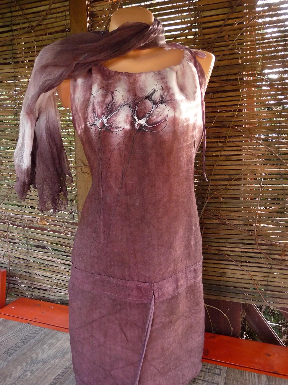 Lněné šaty+šálka z fáčoviny vel 44 46   Zboží prodejce Kristýnek ... c15230af98
