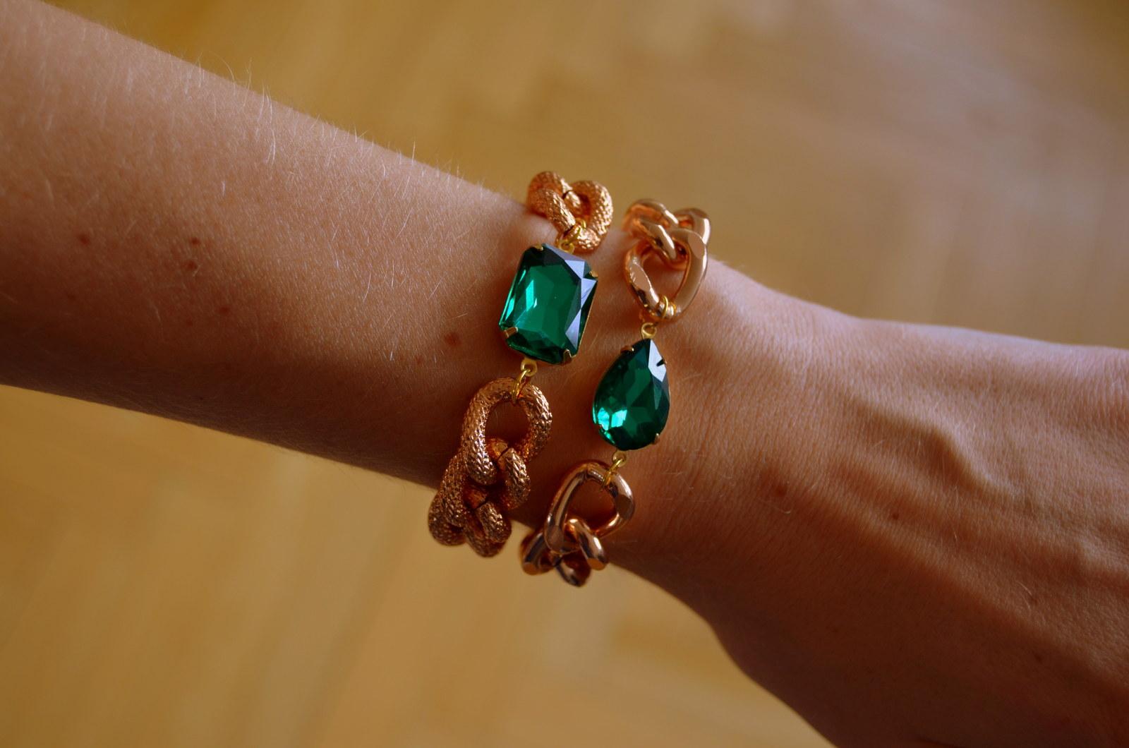 Náramek ROSE GOLD + smaragd   Zboží prodejce GemsOver  ac517b23875