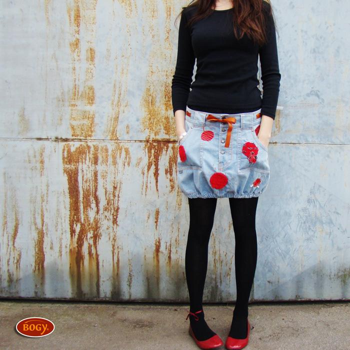 dcdaad21311 riflová sukně na knoflíky s červenou aplikací   Zboží prodejce BOGY ...