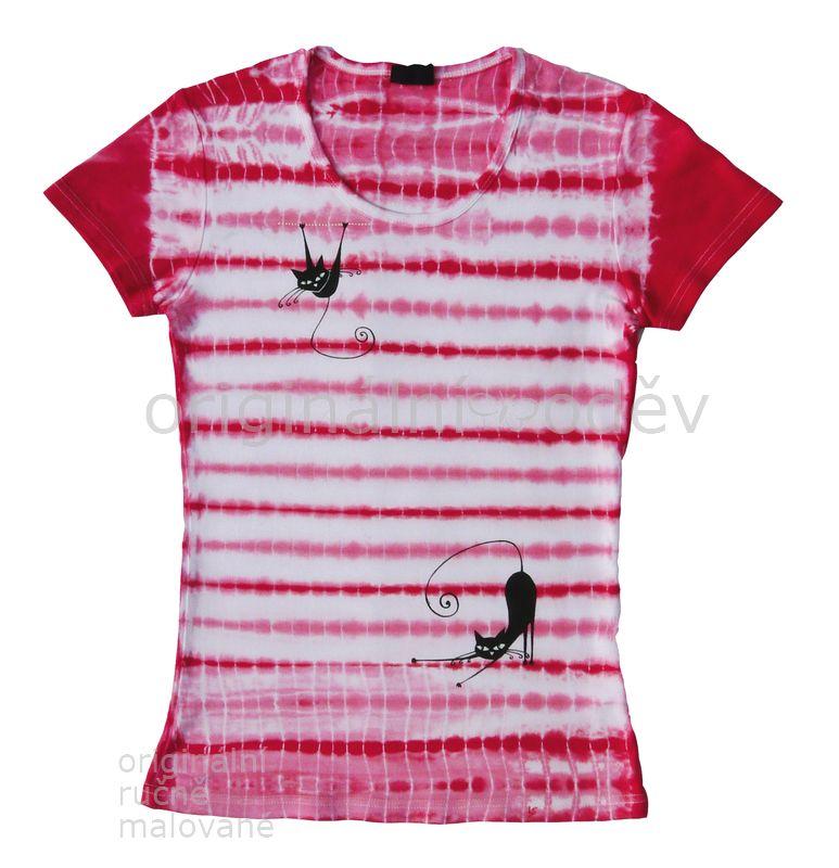 f4c27ae5ef1 Batikované tričko dámské-kočky-bíločervené   Zboží prodejce ...