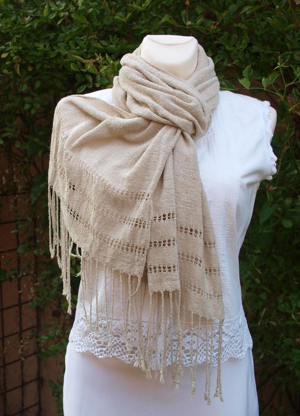 Ručně tkaná letní šála - přírodní   Zboží prodejce krásný sen  981f3511b7