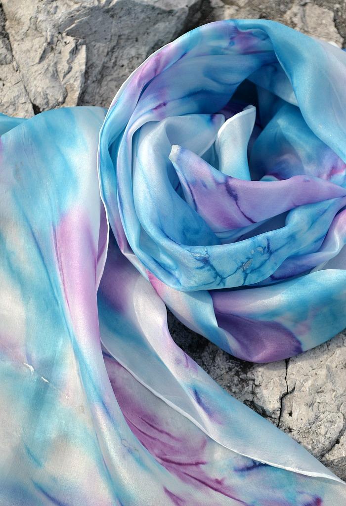 Azurovo - šeříková pastelová hedvábná šála   Zboží prodejce suzen ... 4c3222d094