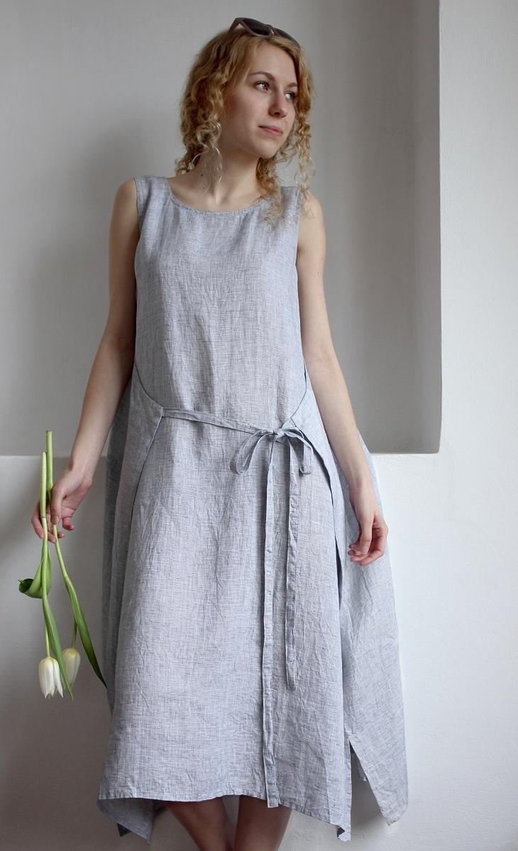 AGNES - šaty len - bílošedé   Zboží prodejce ErmaBe  2d1ad7cb71