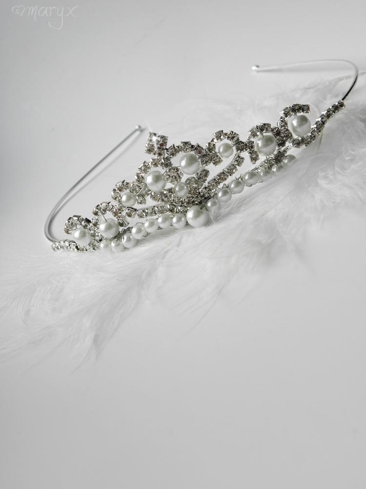 93140067232 Svatební štrasová korunka s perličkami   Zboží prodejce maryx