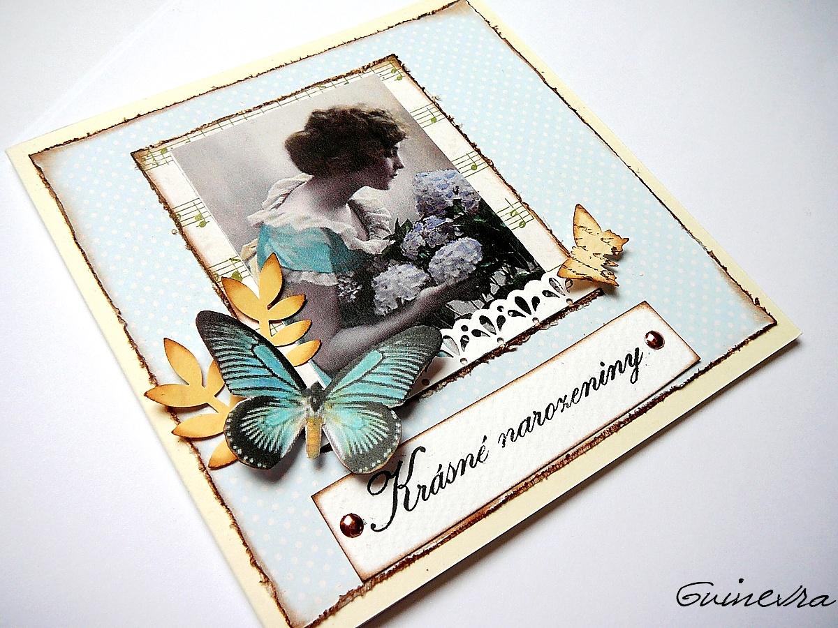 papírová přání k narozeninám S VŮNÍ HORTENZII.přání k narozeninám. / Zboží prodejce Gigi  papírová přání k narozeninám