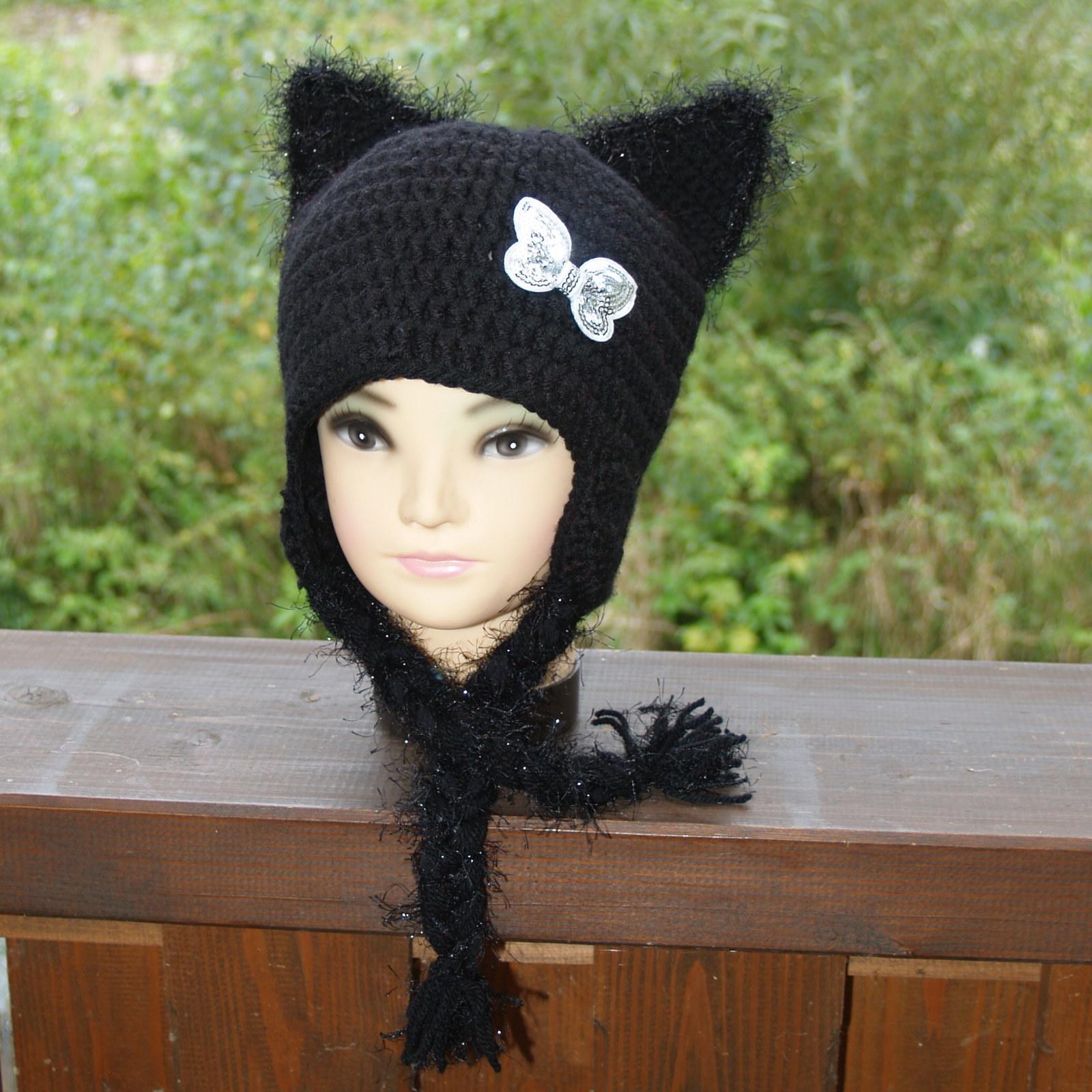 Kočka v černém - zimní čepice   Zboží prodejce Lucinka27  c8a0343c86