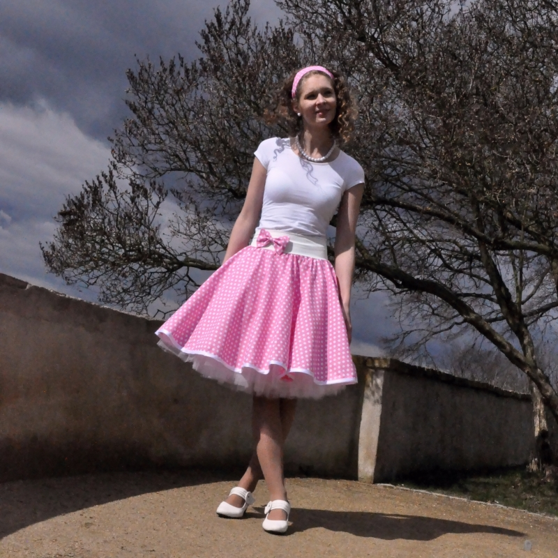 690f5ebc0bd Světle růžová puntíkovaná sukně   Zboží prodejce Princezna ...