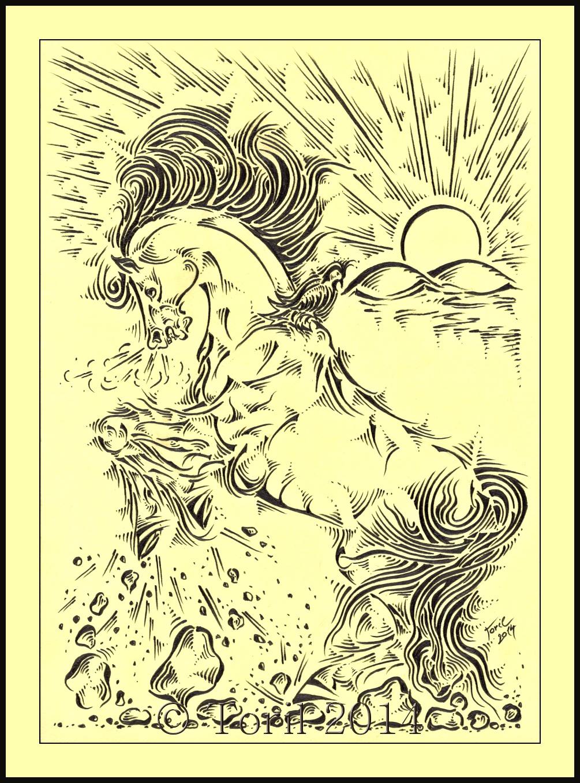 Sila Kresba C 8 Konsky Tarot Reprodukce A4 Zbozi Prodejce