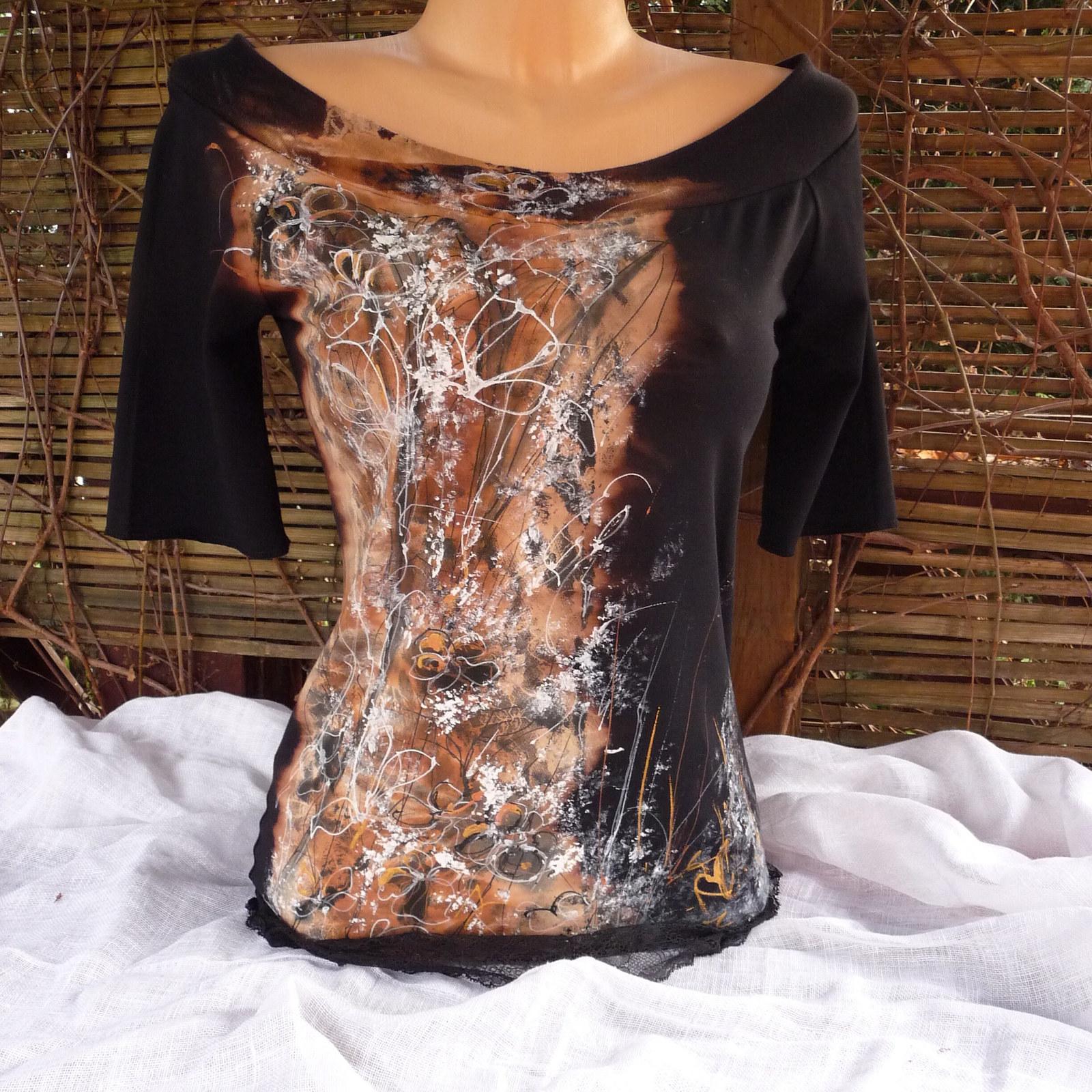 1b0fa7287cf Malovaná černá triko-halenka(divoké květy)   Zboží prodejce ...