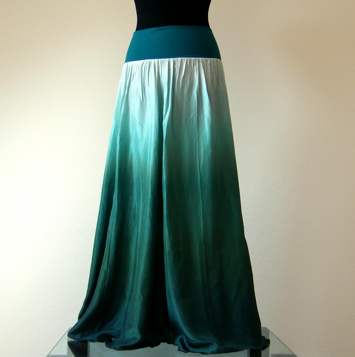 32218065802 Temně zelená...dlouhá hedvábná sukně (bez spodničky)   Zboží prodejce  laduse
