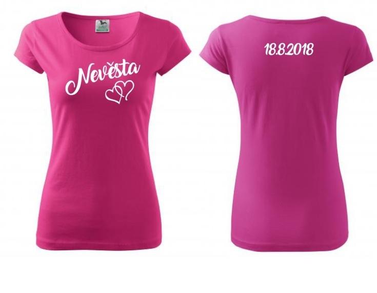 ade230e0bd6a Nevěsta se srdcem a datem svatby - tričko  -)   Zboží prodejce ...