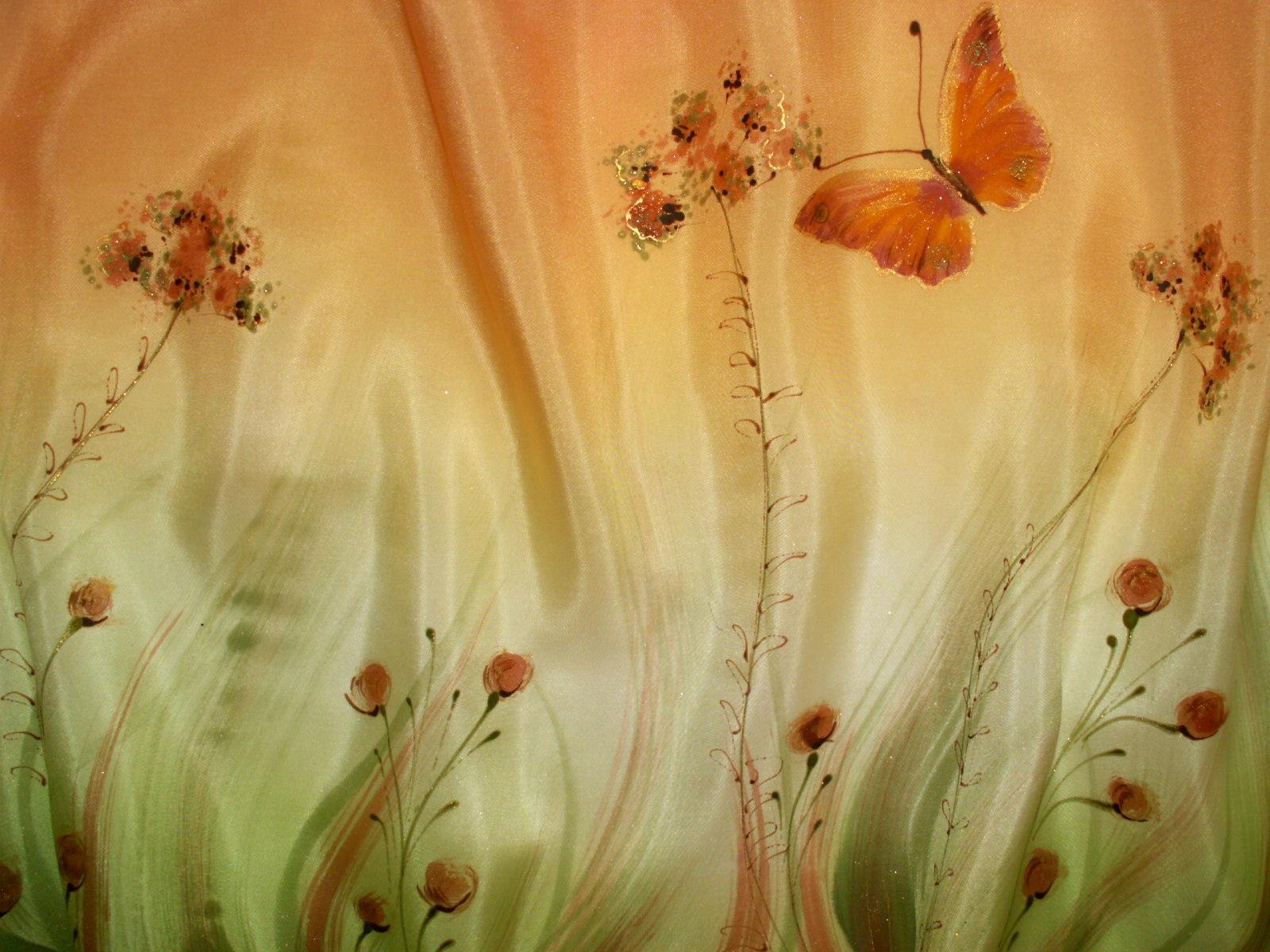 Motýl - ručně malované hedvábí   Zboží prodejce Anja ateliér  8dfb61d7fa
