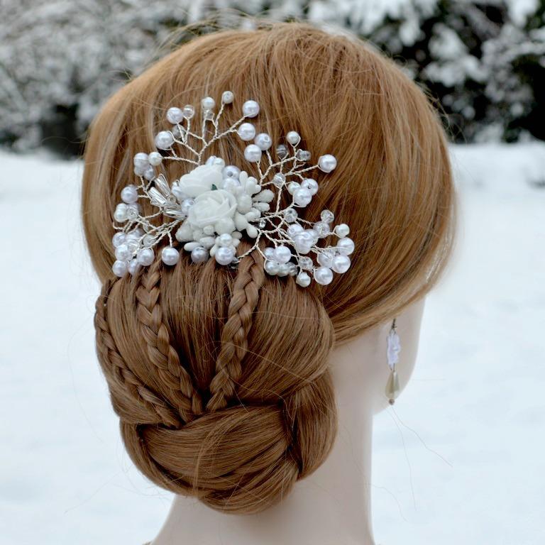 Svatební spona do vlasů bílá La Dalida   Zboží prodejce kultdesign ... 2614a94f9e