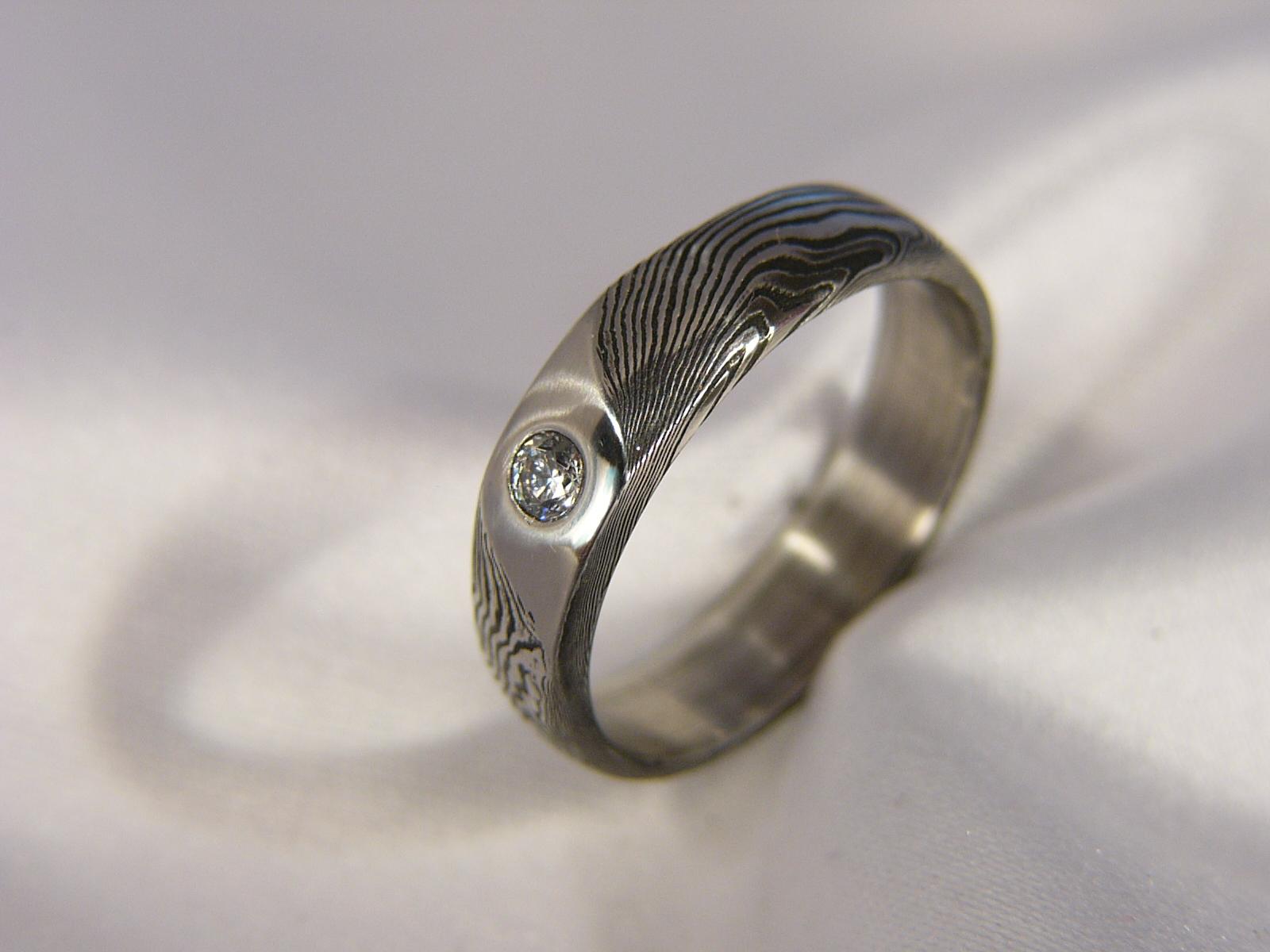 Zásnubní prsten Bigwenir z damascénské oceli   Zboží prodejce Cubick ... 2c7d96c0f2