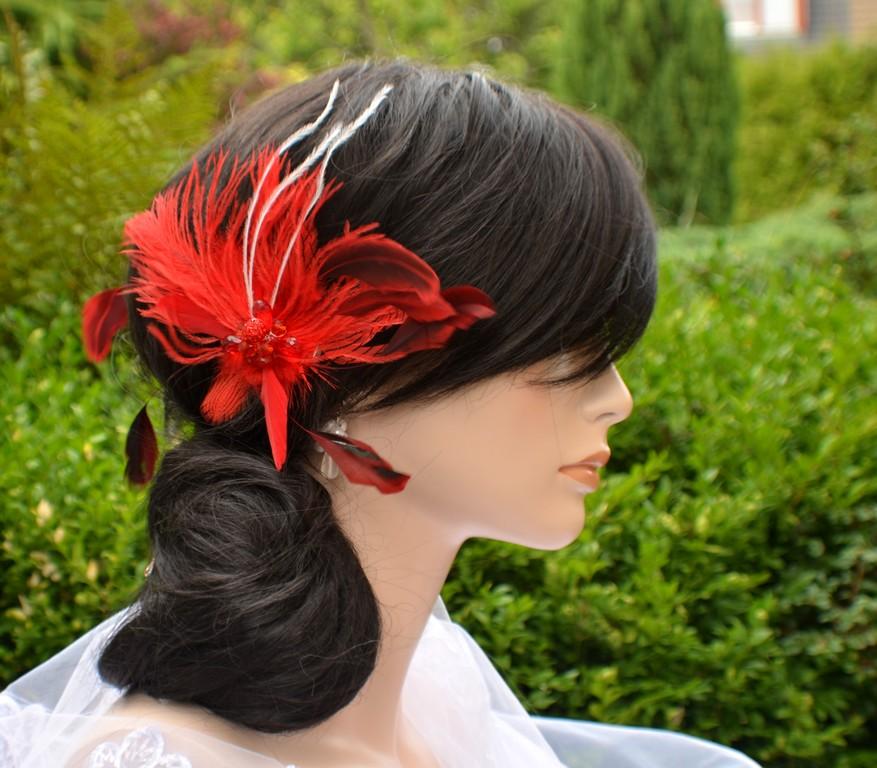 43e2ef17030 Svatební spona do vlasů peří červená   Zboží prodejce kultdesign ...