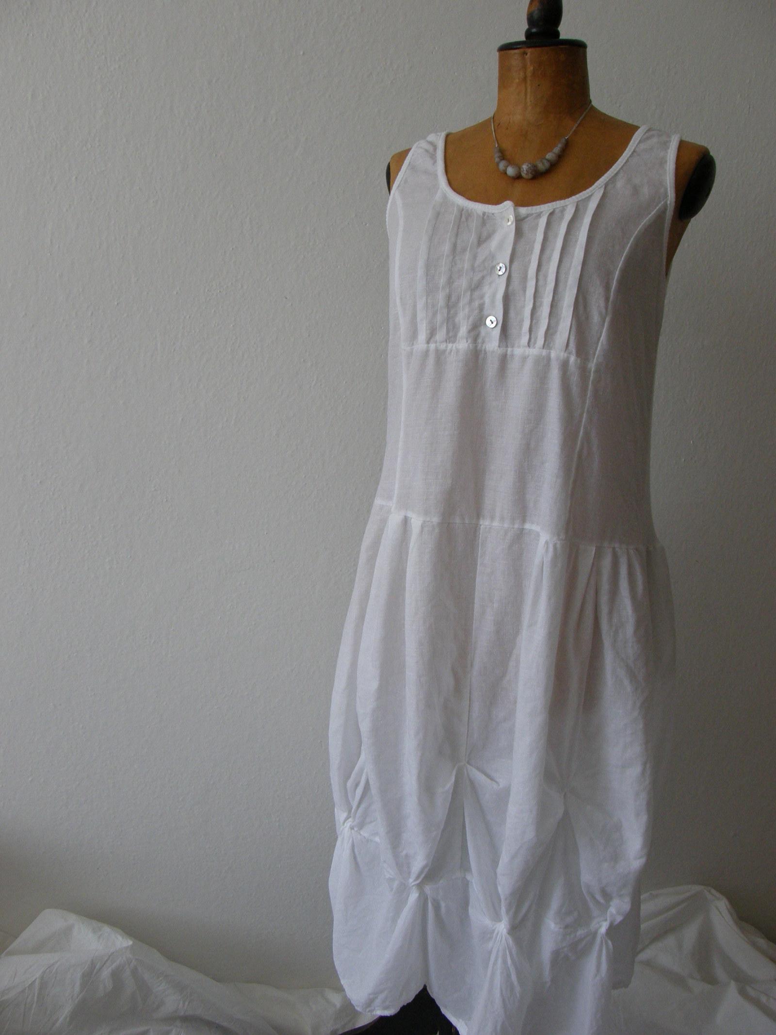 šaty bílé len a bavlna   Zboží prodejce Tolaja  e93af0b4b0